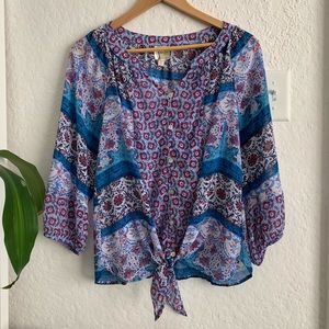 Fig & Flower Tie Front Blouse